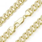 Cuban Curb Link CZ Crystal Chain Necklace .925 Sterling Silver & 14k Yellow Gold