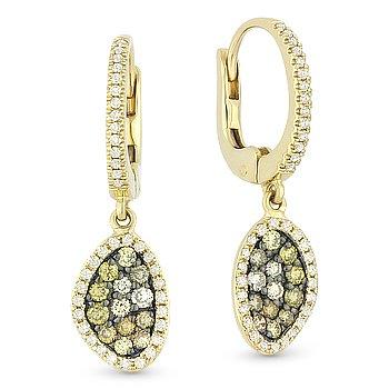 0.65ct Fancy & White Diamond Pave Drop Dangling 14k Yellow & Black Gold Earrings