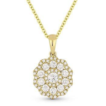 0.69ct Round Brilliant Cut Diamond 14k Yellow Gold Flower Pendant Chain Necklace