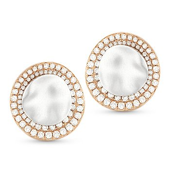 0.75 ct Round Diamond Pave 2-Tone 14k Rose & Hammered White Gold Stud Earrings