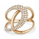 0.57 ct Round Cut Diamond Right-Hand Overlap Loop Fashion Ring in 14k Rose Gold