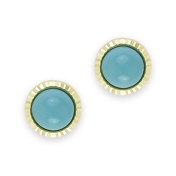 Blue Turquoise Cabochon on Ribbed Halo Studs 14k Yellow White Gold Stud Earrings