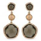 15.73 ct Smoky Topaz & Round Cut Diamond Dangling Drop Earrings in 14k Rose Gold