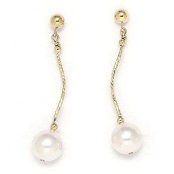 8mm Freshwater Cultured Pearl Dangling Drop Earrings in 14k Yellow or White Gold