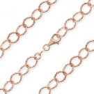 925 Italy Sterling Silver & 14k Rose Gold Plated 6.4mm Cable Link Chain Necklace