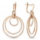 1.15 ct Round Cut Diamond Pave Circle Stack Dangling Earrings in 14k Rose Gold