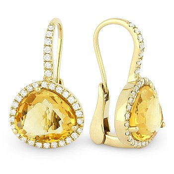 7.97 ct Citrine & Diamond Halo Leverback Dangling Drop 14k Yellow Gold Earrings
