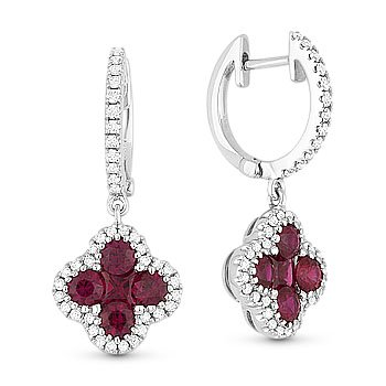 1.34ct Princess & Round Cut Red Ruby & Diamond Pave Drop 18k White Gold Earrings
