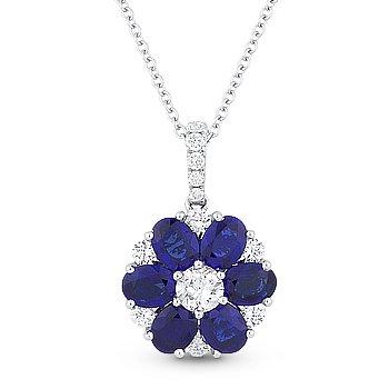 2.29ct Sapphire & Diamond Flower Pendant in 18k White Gold w/ 14k Chain Necklace