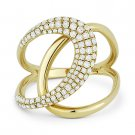 0.55 ct Round Cut Diamond Right-Hand 14k Yellow Gold Overlap Loop Fashion Ring