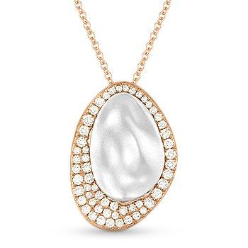 0.42 ct Round Cut Diamond Pendant & Chain Necklace 2-Tone 14k Rose & White Gold