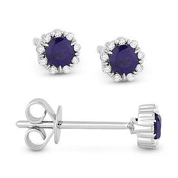 0.35 ct Round Cut Blue Corundum & Diamond Pave Baby 14k White Gold Stud Earrings