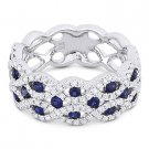 1.59 ct Round Cut Sapphire & Diamond Pave 18k White Gold Right-Hand Fashion Ring