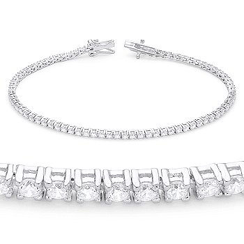 "2.16ct tw 2mm Cubic Zirconia Crystal 7.5"" Tennis Bracelet in 925 Sterling Silver"