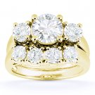Forever Brilliant Moissanite 14k Yellow Gold Engagement Ring & Wedding Band Set