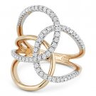 0.54 ct Round Cut Diamond Right-Hand Loop Fashion Ring in 14k Rose & White Gold