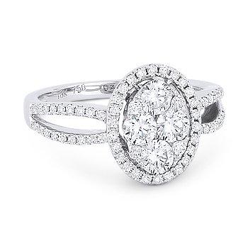 1.05 ct Round Brilliant Cut Diamond Pave 18k White Gold Right-Hand Fashion Ring