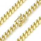 6.8mm Miami Cuban Curb Pave Link Italy Sterling Silver & 14k Gold Chain Necklace