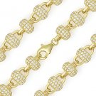 8mm Disco Ball CZ Bead Link Chain Necklace 925 Sterling Silver & 14k Yellow Gold