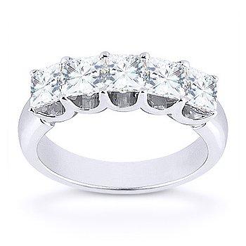 Forever Brilliant Square Cut Moissanite 14k White Gold U-Prong Ring Wedding Band