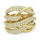 1.34ct Round Cut Diamond Right-Hand Bypass Swirl Fashion Ring in 14k Yellow Gold