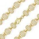 8mm Disco Ball CZ Bead Link Chain Bracelet 925 Sterling Silver & 14k Yellow Gold