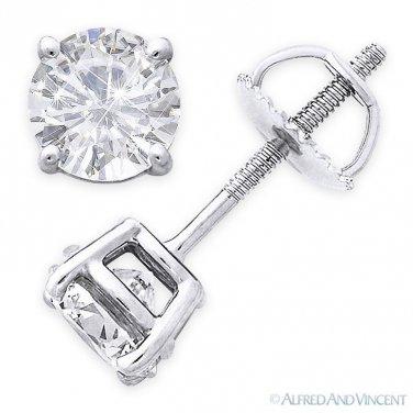 Forever One D-E-F Round Cut Moissanite Screwback Stud Earrings in 14k White Gold