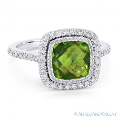 2.91ct Cushion Cut Peridot & Diamond Pave Halo Right-Hand Ring in 14k White Gold