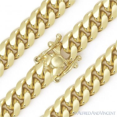 13mm Miami Cuban Curb Link Italy Sterling Silver 14k Yellow Gold Chain Bracelet