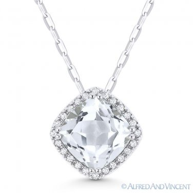 1.77ct Cushion Cut White Topaz Gem Diamond Halo 14k White Gold Necklace Pendant