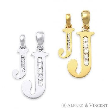 """Initial Letter """"J"""" Cubic Zirconia CZ Crystal Symbol Necklace Pendant in 14k Gold"""