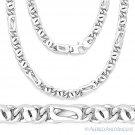 Men's Lightweight 7.4mm Tiger-Eye Link Italian Chain Necklace in Sterling Silver