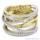 0.81ct Round Cut Diamond 14k Yellow & White Gold Right-Hand Overlap Fashion Ring