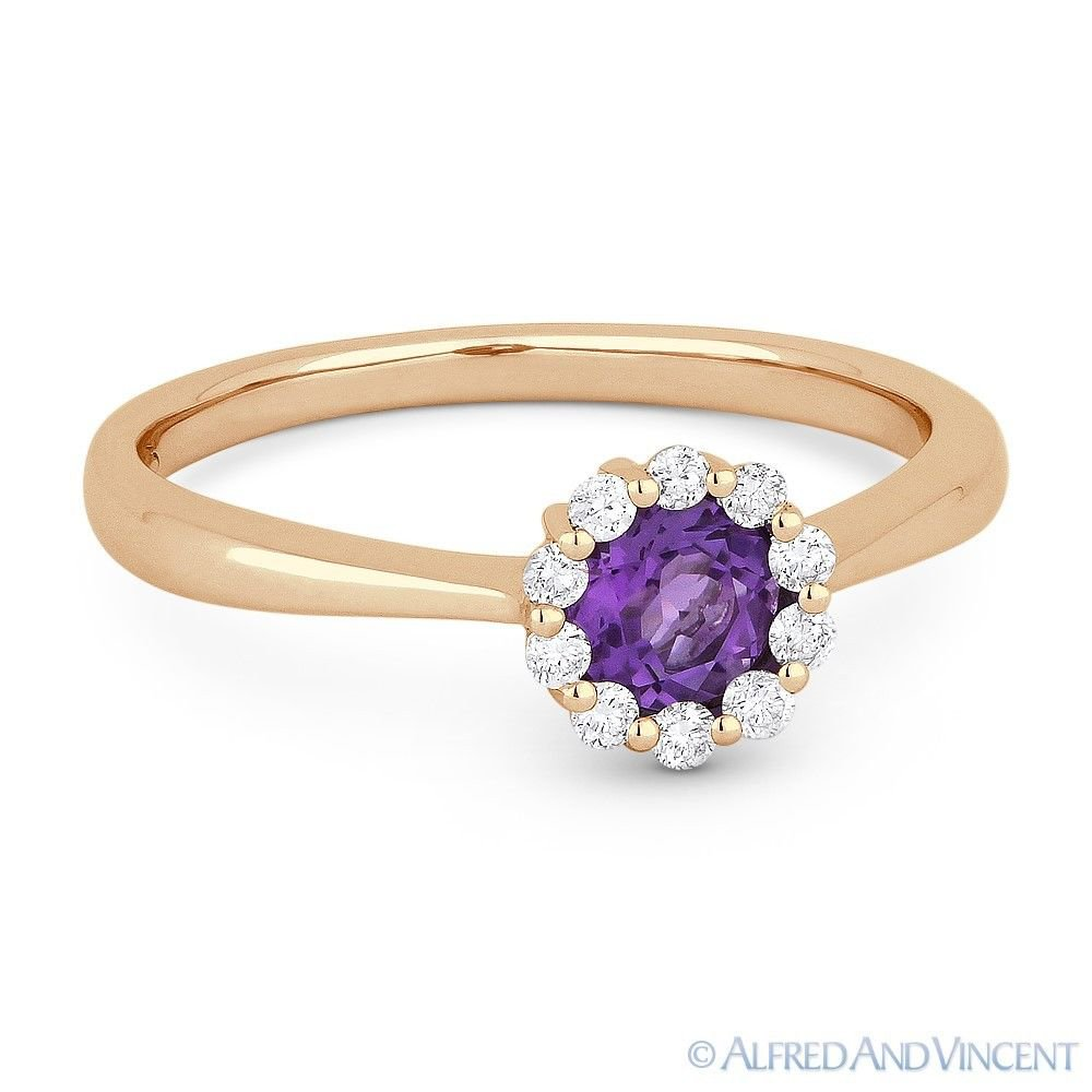 0.43 ct Round Cut Amethyst Gem & Diamond Halo Promise Ring in 14k Rose Pink Gold