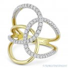 0.54ct Round Cut Diamond Right-Hand Loop Fashion Ring in 14k Yellow & White Gold