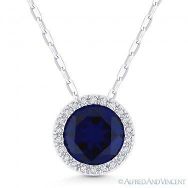 1.87ct Blue Lab-Sapphire & Diamond Halo 14k White Gold Pendant & Chain Necklace