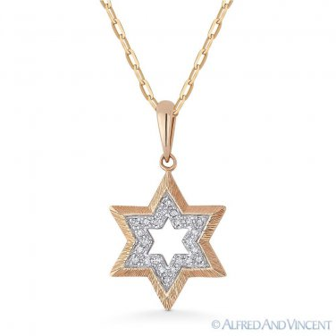 0.06ct Round Cut Diamond Star of David Pendant & Chain Necklace in 14k Rose Gold