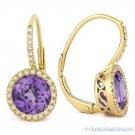 2.68ct Round Cut Amethyst Diamond Leverback Dangling Earrings in 14k Yellow Gold