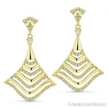 0.33 ct Round Cut Diamond Dangling Drop Statement Earrings in 14k Yellow Gold