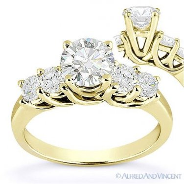 Forever ONE D-E-F Round Cut Moissanite 14k Yellow Gold 5-Stone Engagement Ring