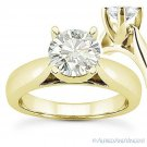 Round Cut Forever ONE D-E-F Moissanite 14k Yellow Gold Solitaire Engagement Ring