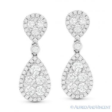 1.26ct Round Brilliant Cut Diamond Pave Dangling Drop Earrings in 18k White Gold