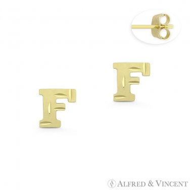 """Initial Letter """"F"""" Petite Baby Stud 14k Yellow Gold Stamping Push-Back Earrings"""