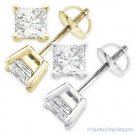 1.00ct Square Princess Cut Moissanite 14k Gold Stud Earrings Charles and Colvard
