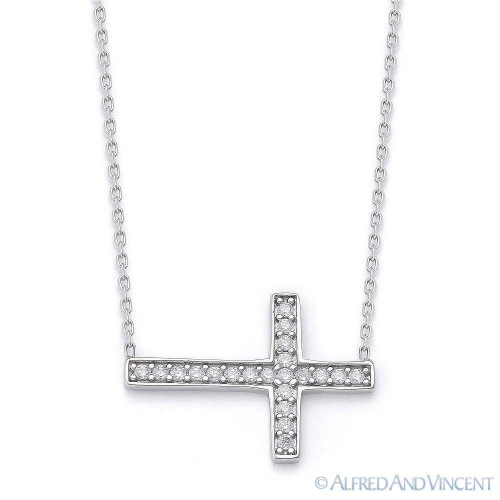 Sideways Cross CZ Crystal Pendant .925 Sterling Silver Christian Charm Necklace