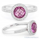 2.04ct Round Cut Pink Lab Sapphire & Diamond 14k White Gold Halo Engagement Ring