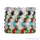 Faceted Resin Crystal Beaded Stretch Bracelet Austrian Czech CZ - Multi-Colors