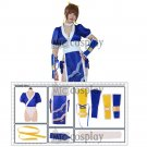 Kasumi Cosplay Costume Women Girl Blue Cheongsam Suit Outfit of Dead or Alive