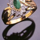14K Gold Genuine Emerald and Diamond Ring - Size 8