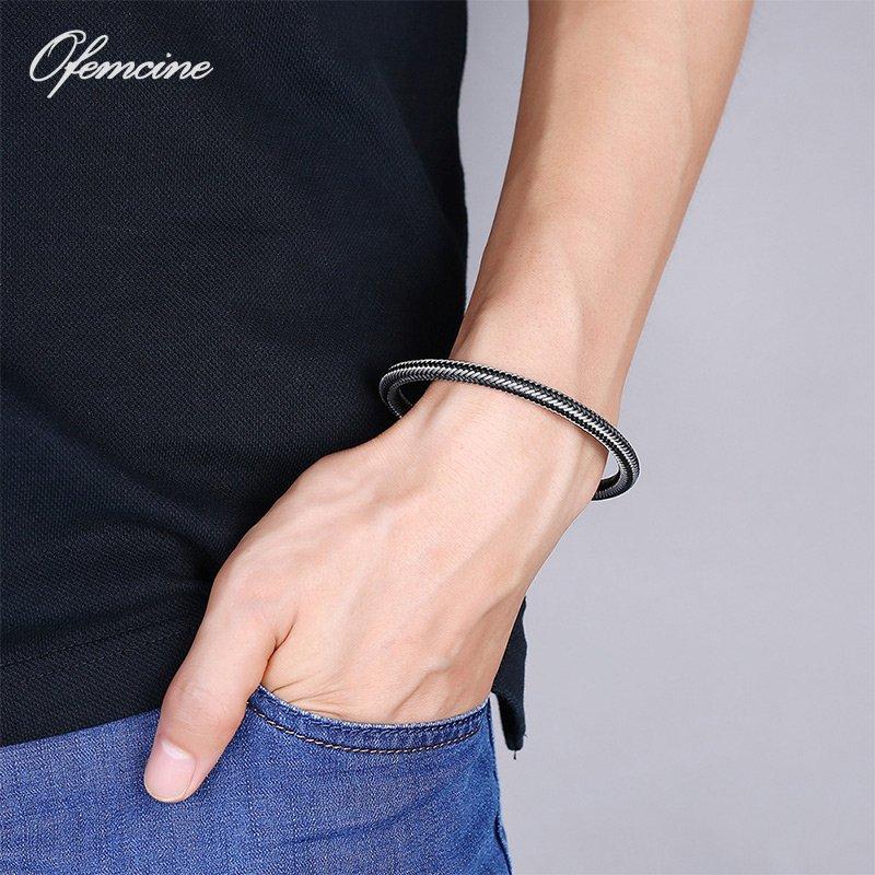 Trendy Braided Stainless Steel Bracelet for Men Charm Punk Bangles